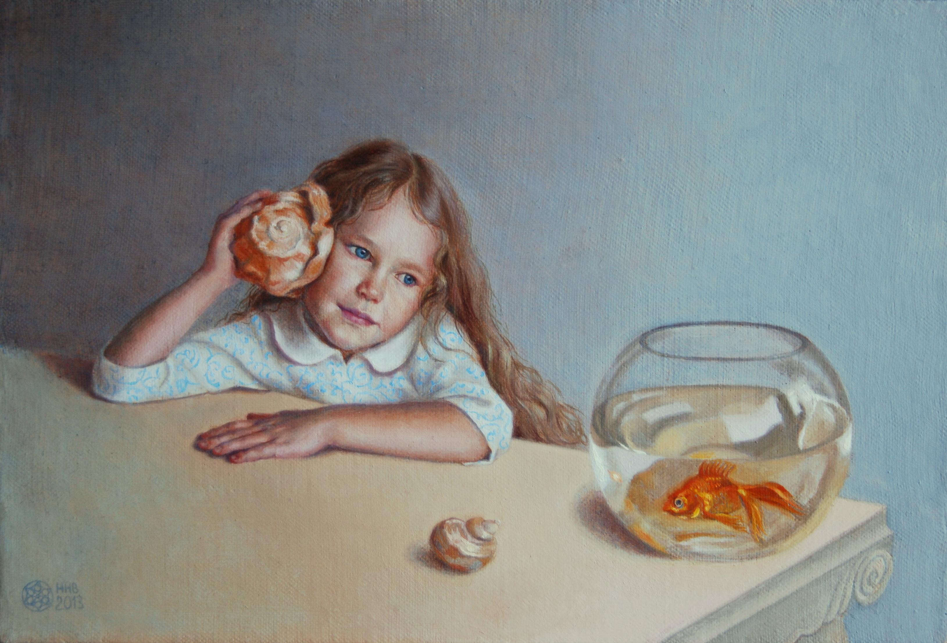 разговор с золотой рыбкой. х/м. 20х30.2013