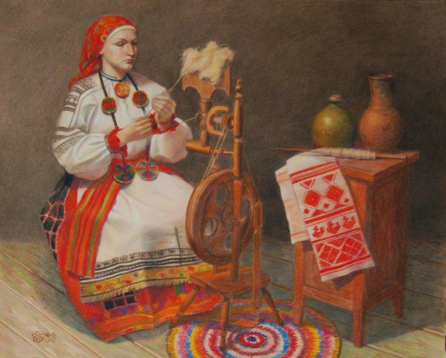 Русские традиции.бумага/пастель.83x67.2015