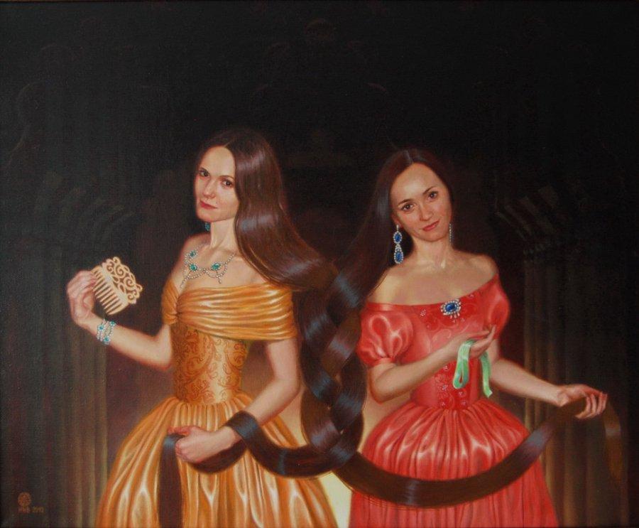 The sister's braid. oil/cаnvas. 65х85.2012