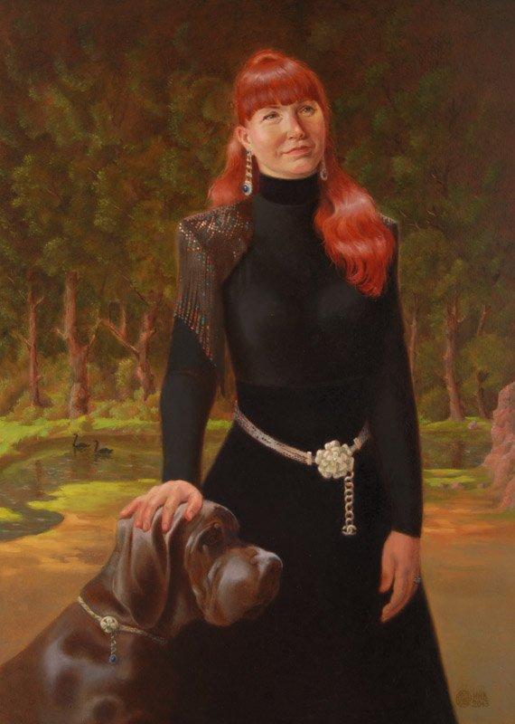Lady with a dog. oil/cаnvas. 50х70.2013