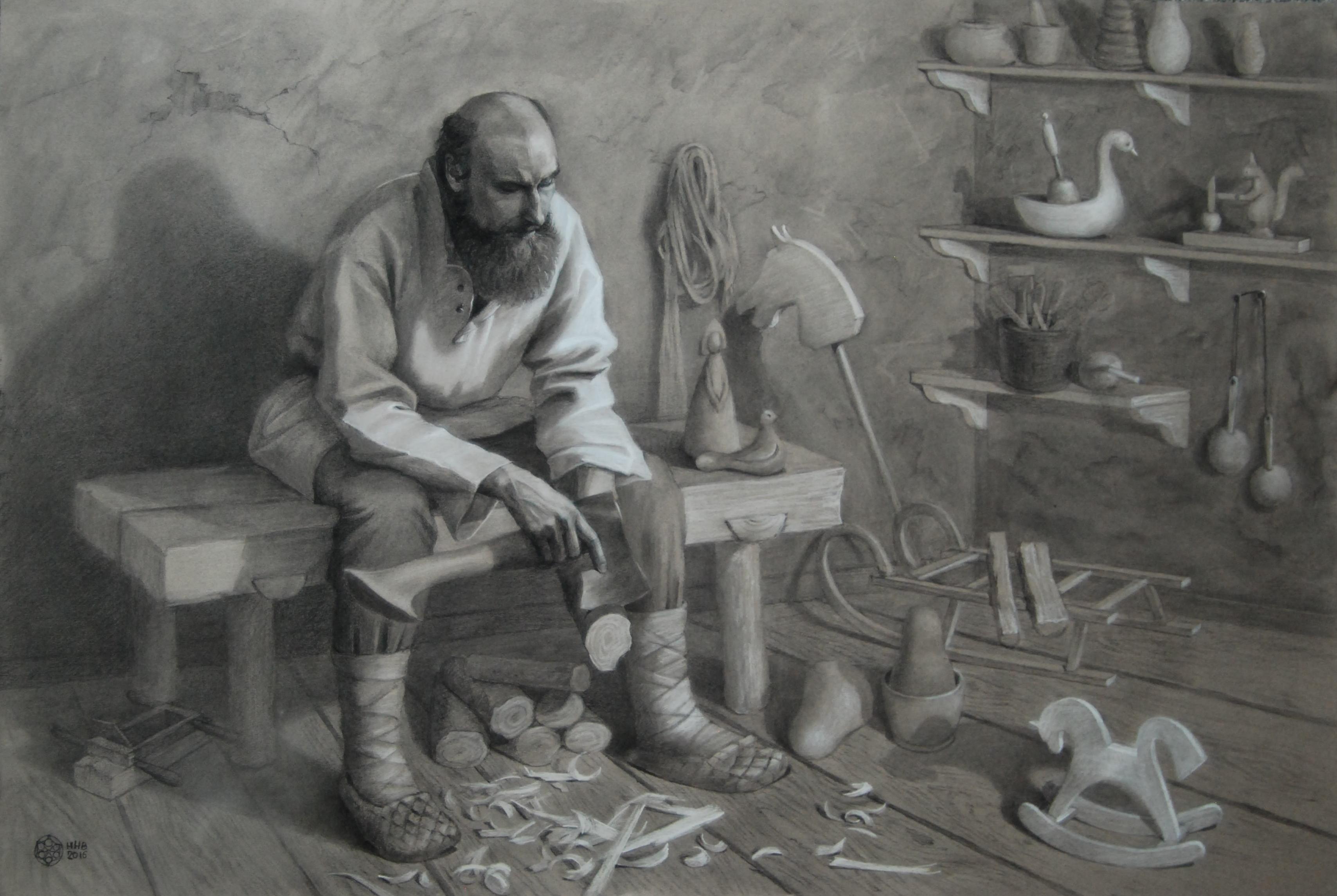 Игрушечных дел мастер.бумага/пастель.67x100.2016.продается