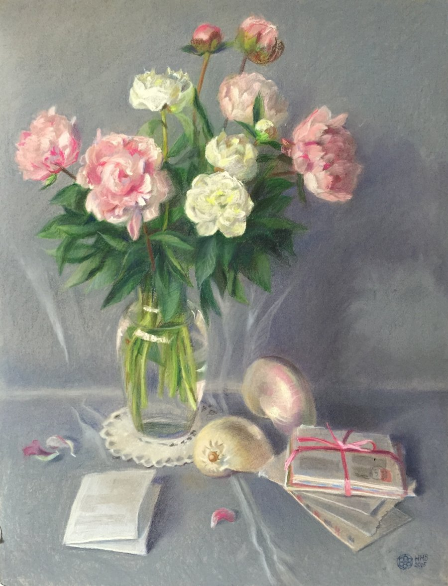 Romantic peonies.pastel/paper.65x50.2015.FOR SALE