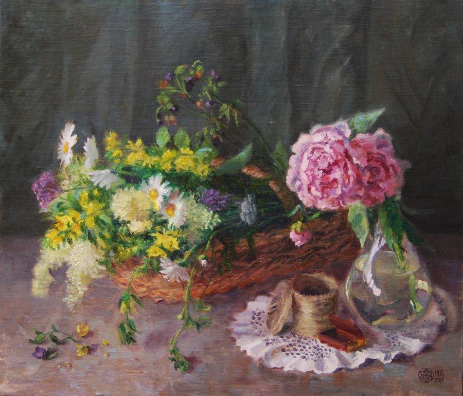 Садовые и полевые.х/м.53х60.2015.продана