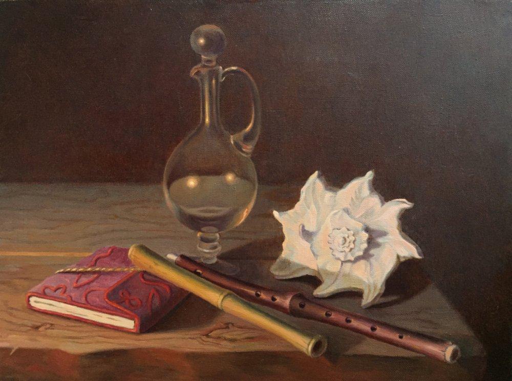 Натюрморт с ракушкой.х/м.30х40.2016.продается