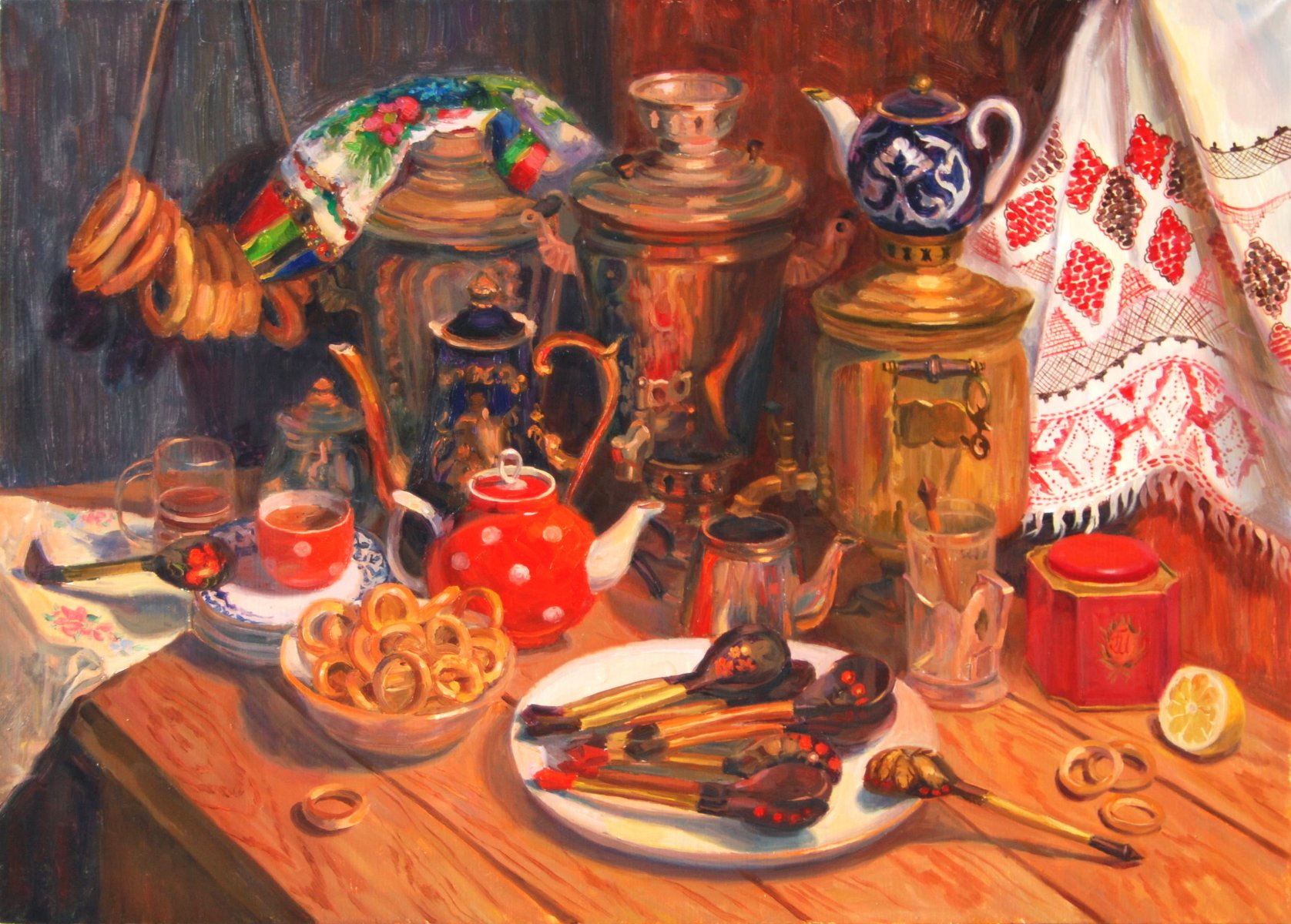 The samovar's company.oil/canvas.50х70.2015.FOR SALE