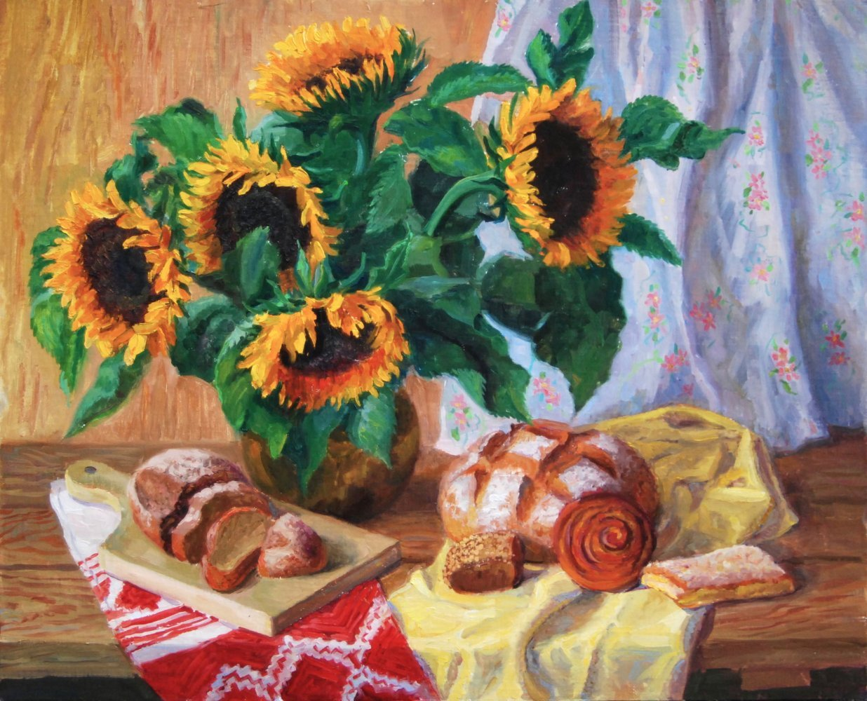 Bread's sunflowers. oil/canvas. 62x50.2015. For sale