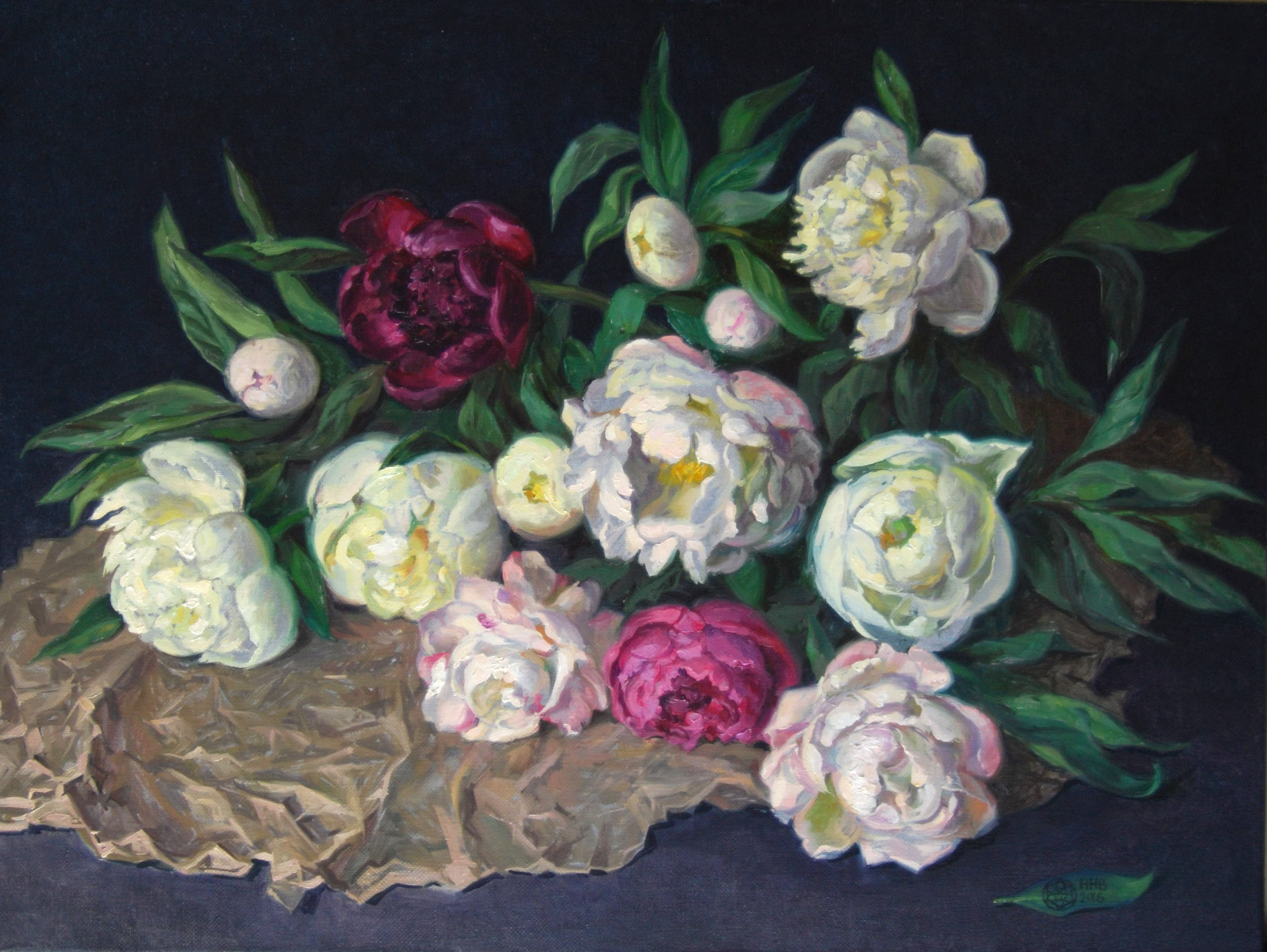 Peonies.oil/canvas.60x80.2016.for sale