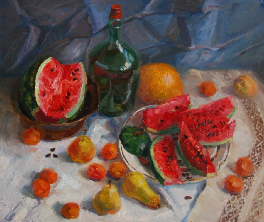 Water-melon.50х60.oil/canvas.2014.sold