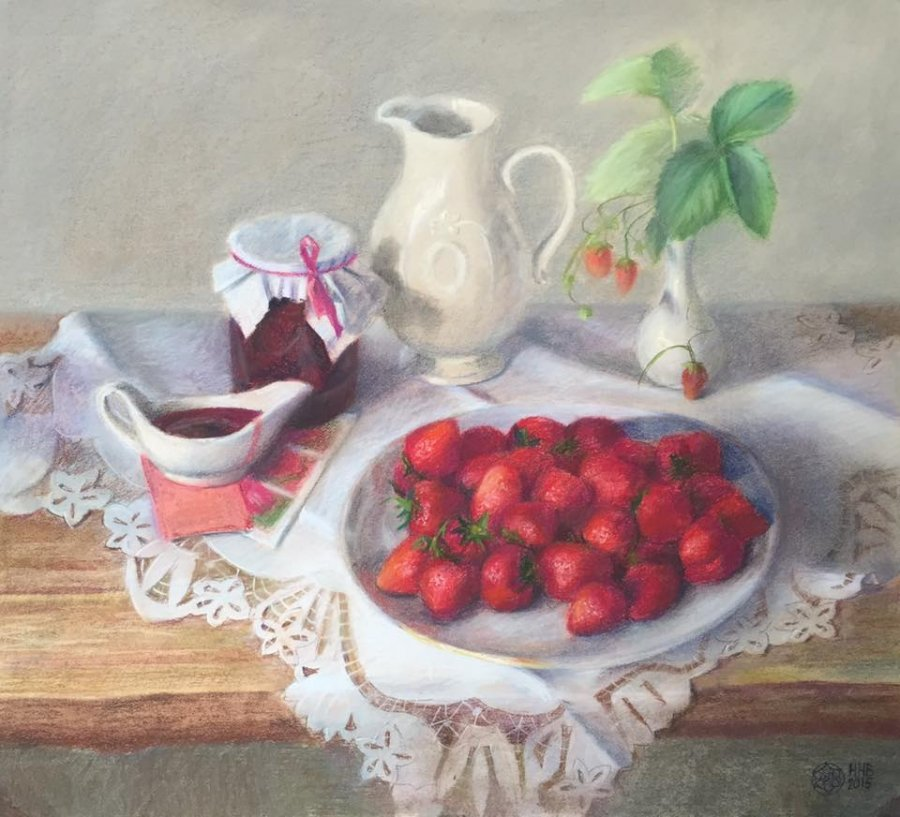 Strawberries .paper/pastel.50х55.2015