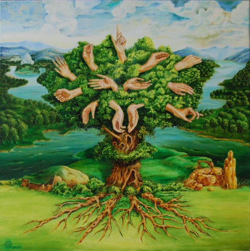 Ручное дерево. х/м. 80х80.2011